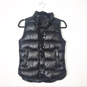 J Crew Black Shiny Puffer Down Vest